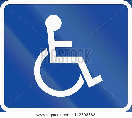 Road Sign Used In Sweden - Symbol Plate For Specified Vehicle Or Road User Category (handicapped)