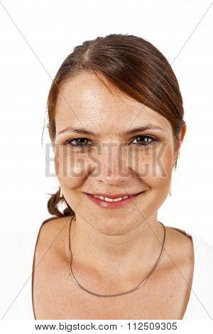 Close-up Young Beautiful Woman  In Studion