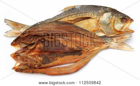 Popular Ilish fish dried of Southeast Asia over white background poster