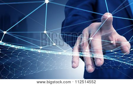 Businessman hand touching with finger digital connection lines on virtual screen