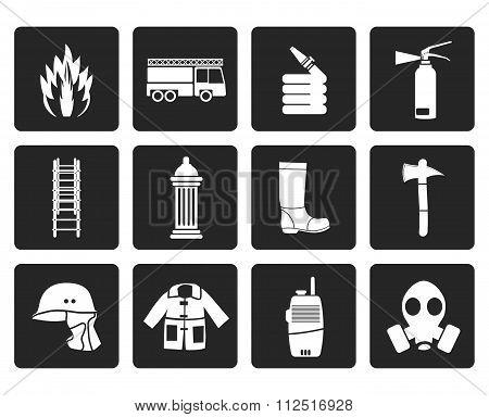 Black fire-brigade and fireman equipment icon