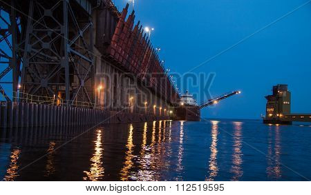 Iron Ore Dock With Freighter