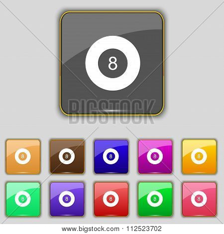 Eightball, Billiards  Icon Sign. Set With Eleven Colored Buttons For Your Site.