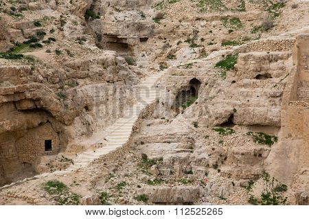Israeli mountains in spring with rock stairs