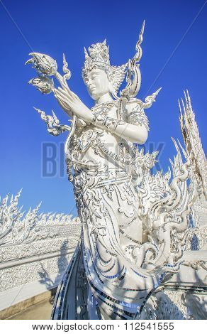 The White Faerie At Wat Rongkhun In Thailand