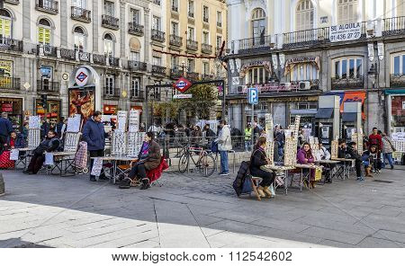 MADRID SPAIN - November 26 2015: Typical Christmas lottery every year have gathered in Puerta del Sol in Spain Mardid