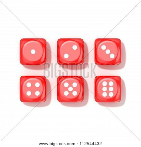 Set of red game dices all numbers. Top view. 3D
