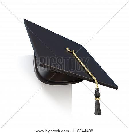 Graduation cap on blank board corner. 3D