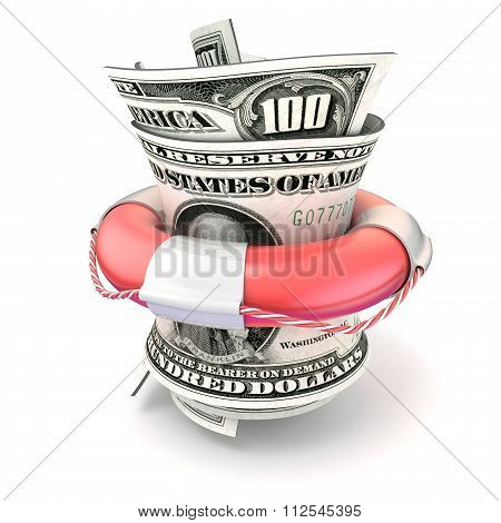 Red lifebuoy saving money roll dollars. 3D