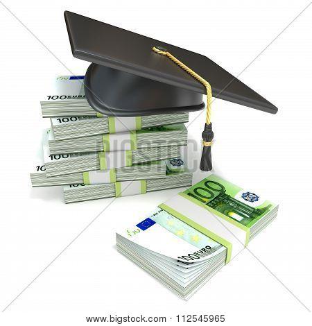 Education concept. Graduation cap on stack of euro bills. 3D
