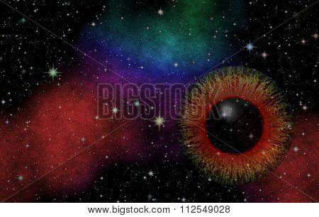 Mysterious view. Magic eye. Panoramic looking into deep space. Dark night sky full of stars