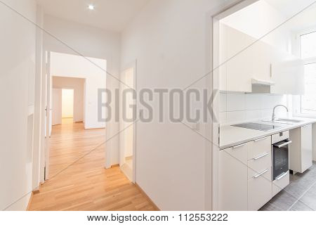 Renovated Flat , Corridor And Kitchen, White Walls And Wooden Floor