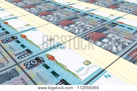 Guatemalan quetzal bills stacks background. Computer generated 3D photo rendering.