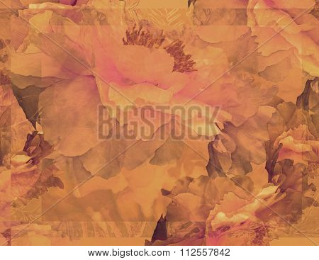 Floral Potpourri with Peonies in Red-Orange