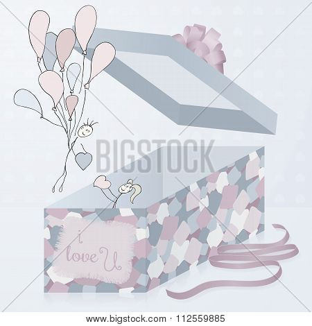 A Template Gift Box With Patchwork Texture, 3D. Hand Drawn Artistic Pair. Valentines Day.