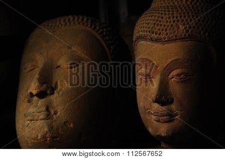 Old Neglected Sandstone Buddha Head