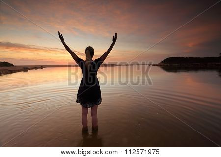Woman Outstretched Arms Praising Perfect Day Success
