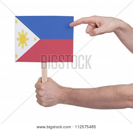 Hand Holding Small Card - Flag Of Philipines