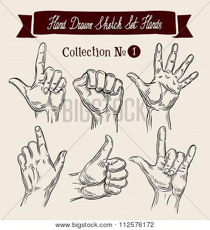Hand drawn sketch set hands gestures. Vector illustration