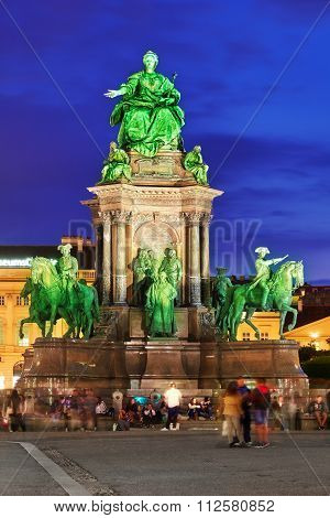 Veienna,austria- September 10, 2015:maria Theresa Square.monuments Of The Great Empress Of Austria-m