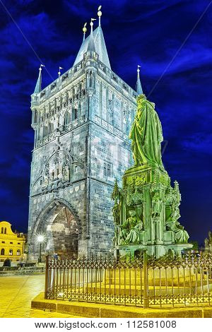 Monument For Charles Iv Near Saint Francis Of Assisi Church Square In Prague.