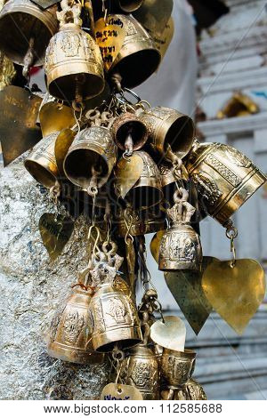 Small Bronze Bells In Wat Phrathat Temple On Doi Suthep, Chiang Mai, Thailand