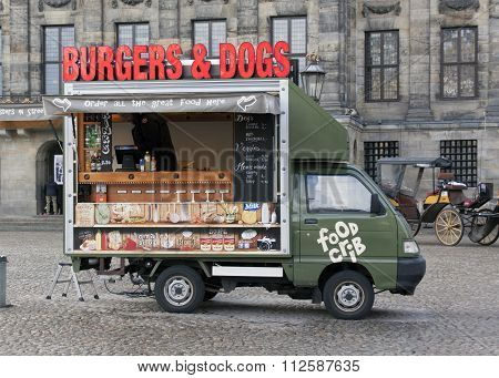 Food Truck On Dam Square In Amsterdam