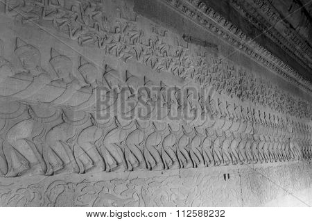 Siem Reap, Cambodia - December 2, 2015: Ancient Khmer Bas Relief Carving, Angkor Wat Temple