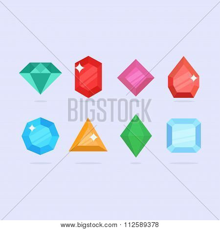 Diamonds vector flat set