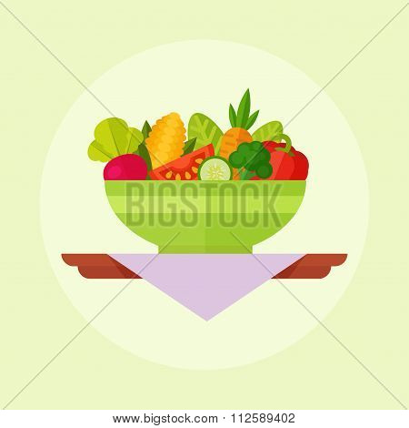 Salad vector flat illustration