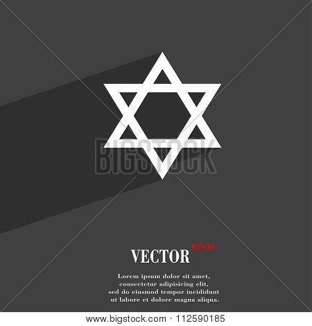 Pentagram Symbol Flat Modern Web Design With Long Shadow And Space For Your Text.
