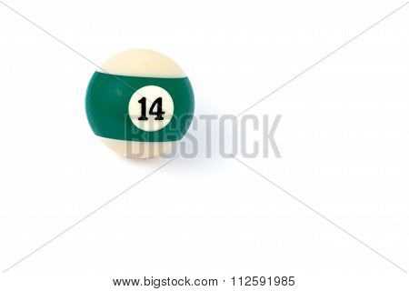 Billiard Ball Fourteen Isolated On A White Background
