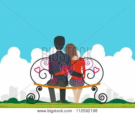 Couple sitting on a bench in the park and admire landscape of the city on Valentine's Day. Vector il
