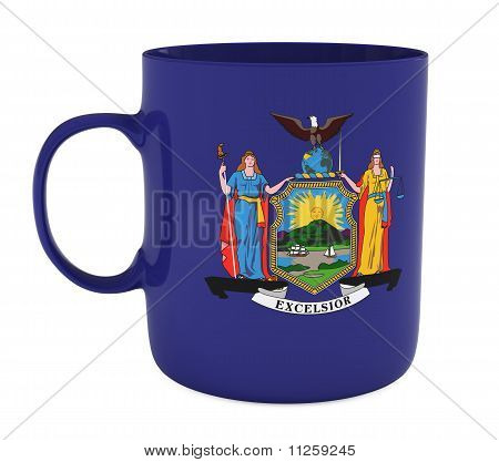 Mug with Flag of New York State, Isolated on White