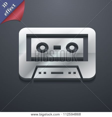 Audiocassette Icon Symbol. 3D Style. Trendy, Modern Design With Space For Your Text