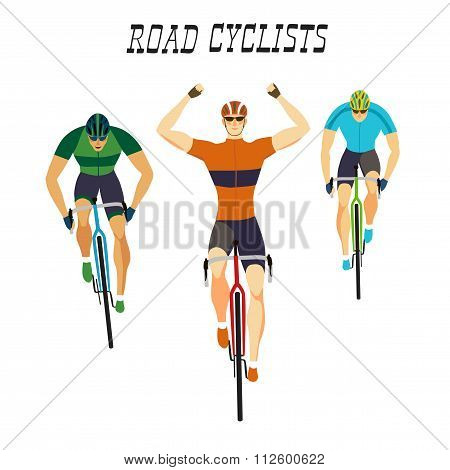 Fast Racing Cyclists Set