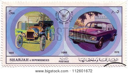 Sharjah - Circa 1971: A Postage Stamp Printed In Sharjah Showing An Image Of Ford, Post Day 1970: Eu