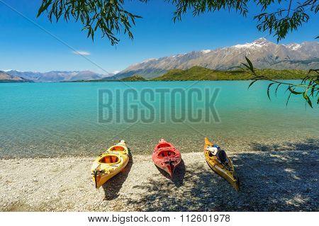 Kayaks on the Lake Wakatipu, Glenorchy
