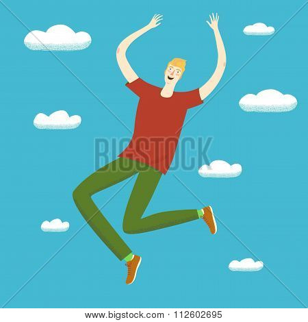Beautiful Happy Girl Jumping