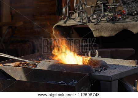 Fire Used By The Blacksmith In The Forge