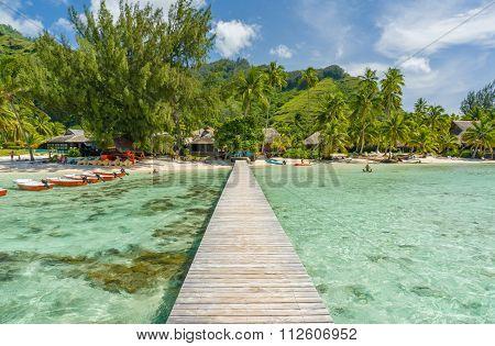 Jetty on a beach in Moorea, Tahiti