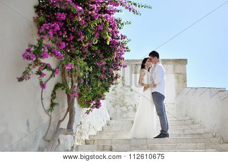 Romantic Couple In Honeymoon In Sperlonga, Italy
