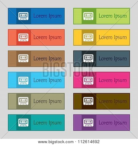 Audiocassette Icon Sign. Set Of Twelve Rectangular, Colorful, Beautiful, High-quality Buttons For