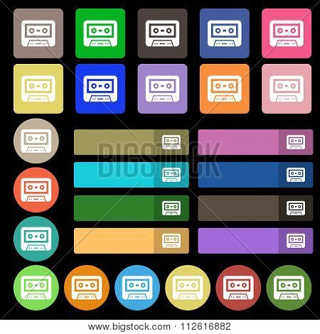 Audiocassette Icon Sign. Set From Twenty Seven Multicolored Flat Buttons.