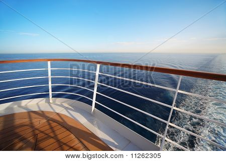 beautiful view from stern of big cruise ship