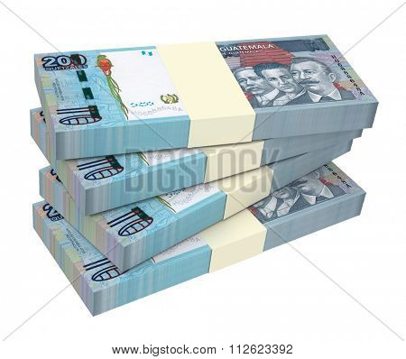 Guatemalan quetzal bills isolated on white background. Computer generated 3D photo rendering.