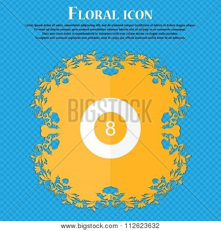 Eightball, Billiards  Icon. Floral Flat Design On A Blue Abstract Background With Place For Your