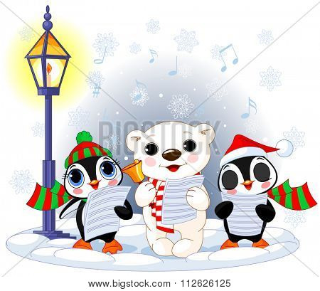 Christmas carolers, cute polar bear and two penguins
