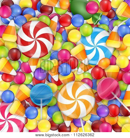 Sweets background with lollipop, candy corn and gumballs