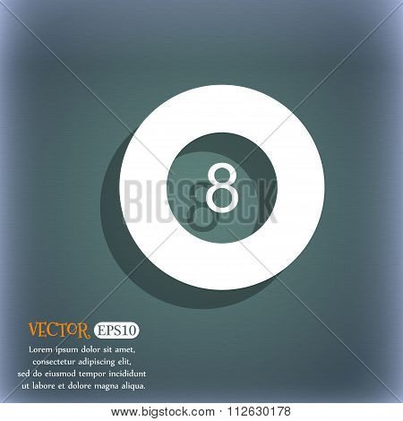 Eightball, Billiards  Icon. On The Blue-green Abstract Background With Shadow And Space For Your